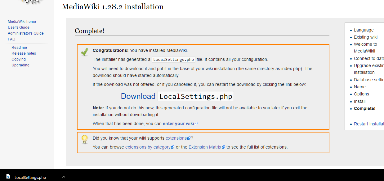 download localsettings.php
